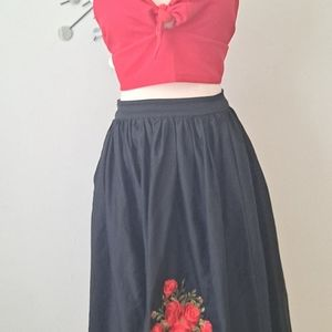 Collectif embroidered circle skirt